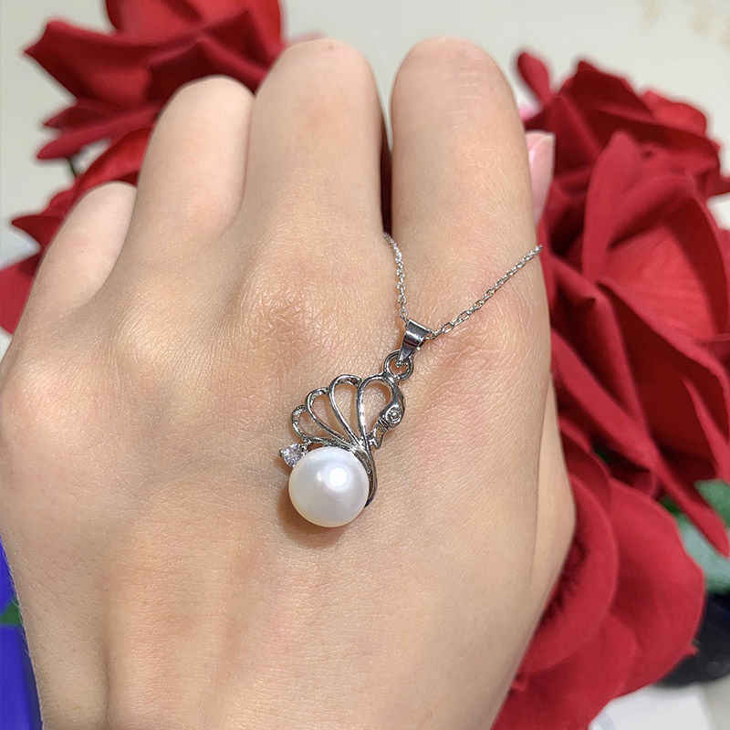 Dmcsfp005 6-7mm swan forma pérola conjuntos de jóias real 925 prata esterlina swan pérola pingente/brincos para mulher