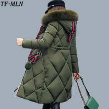TFMLN Fashionable Coat Jacket Women's Warm Parkas Down Cotton Parka Coat Hight Quality 2017 Winter Thick Fur Hoode Long Coat
