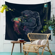 Watercolor Art Space Astronaut Printed Large Psychedelic Tapestry Wall Hanging Beach Towel Polyester Thin Blanket Yoga Shawl Mat women large bath towel for beach thick round 3d sugar skull printed beach towel fabric quick compressed towel tapestry yoga mat