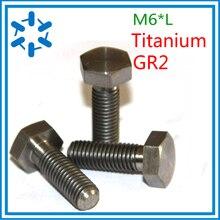 50pcs/lot DIN933 Titanium hex bolt Ti bolts GR2 M6*8/10/12/15/20/25/30/35/40/45/50/55/60
