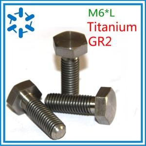 Image 1 - 50pcs/lot DIN933 Titanium hex bolt Ti bolts GR2 M6*8/10/12/15/20/25/30/35/40/45/50/55/60