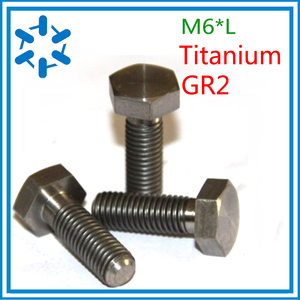 Image 1 - Lote de 50 tornillos DIN933, perno hexagonal de titanio Ti, GR2 M6 * 8/10/12/15/20/25/30/35/40/45/50/55/60