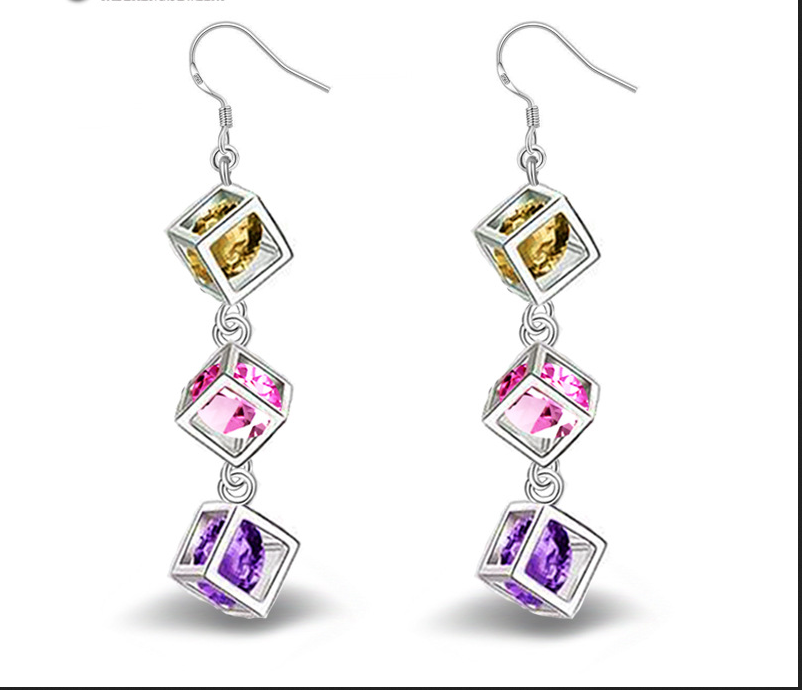 Fashion Luxury Colorful Band Real Pure 925 Sterling Silver Jewelry Cubic Zirconia Stone Earrings Fashion Women Favourites