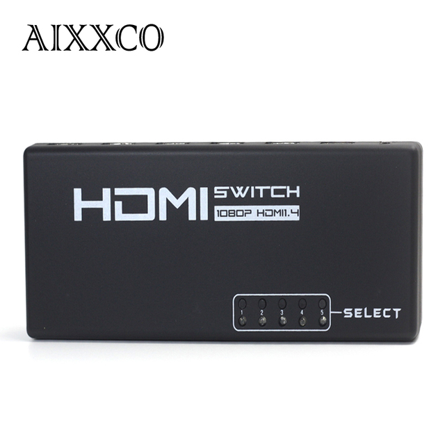 AIXXCO 5 Port 5 IN 1 OUT 1080P HDMI Switch Switcher Selector Splitter with Remote Splitter Box for HDTV PS3 DVD STB