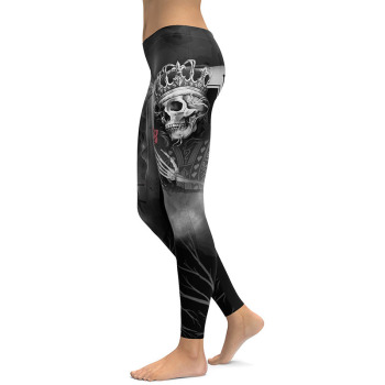 Gothic Poker Rose Skull 3D Leggings 1