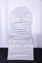 Hot Sale Silver Ruffle Chair Cover Spandex / Lycra Chair Covers With Spandex Band For Wedding Decoration &Party