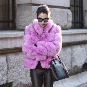 Image 2 - ZADORIN אופנה חורף מעיל נשים יוקרה פו שועל פרווה מעיל בתוספת גודל נשים לעמוד פרווה צווארון ארוך שרוול פו פרווה מעיל fourrure