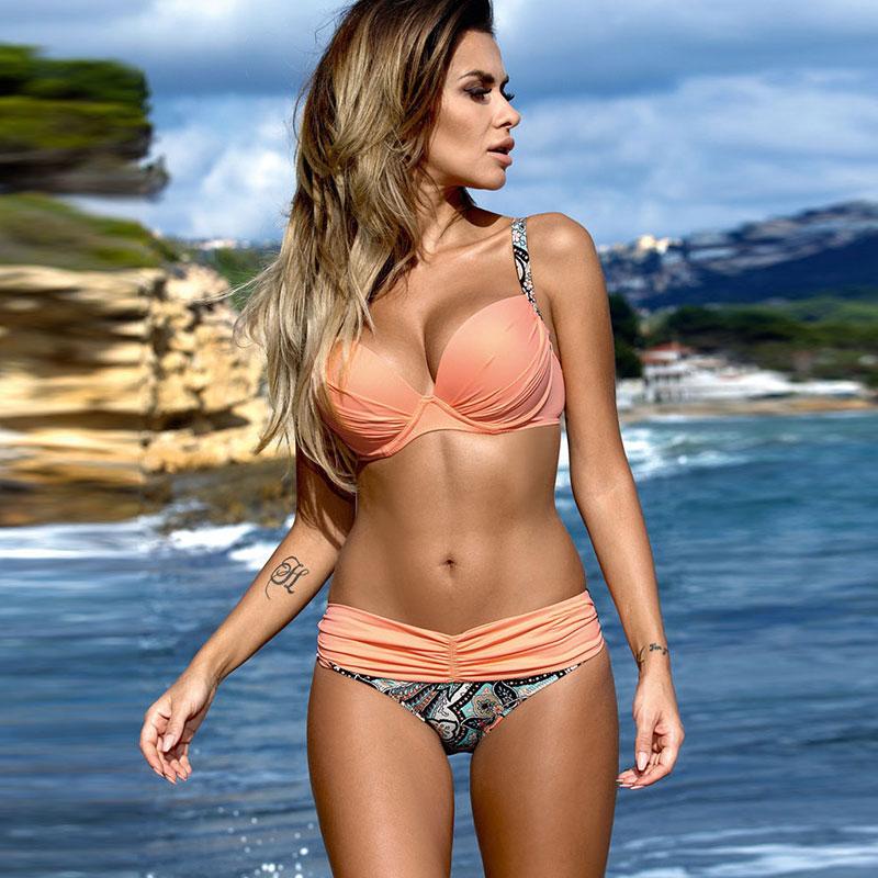 Sexy bikinis 2018 summer swimsuit women striped lattice bathing suits halter top push up bikini set spell color swimwear women
