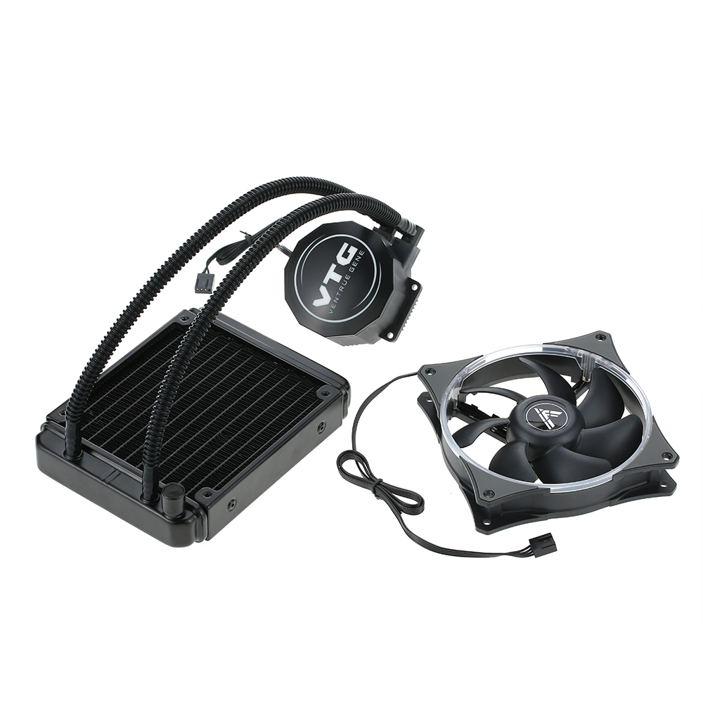 US $61 32 |VTG120 Liquid Freezer Water Liquid Cooling System CPU Cooler  Fluid Dynamic Bearing 120mm Fan with Blue LED Light for PC Desktop-in Fans  &