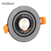 Dimmable 10W 15W 20W COB LED Ceiling lamp 360 degree rotating Recessed Downlight 110/220V Round/Square Shell