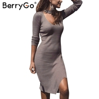 BerryGo Elastic Split Autumn Winter Dress Sexy Halter Knitting Sweater Dress Women Bodycon Long Sleeve Dress