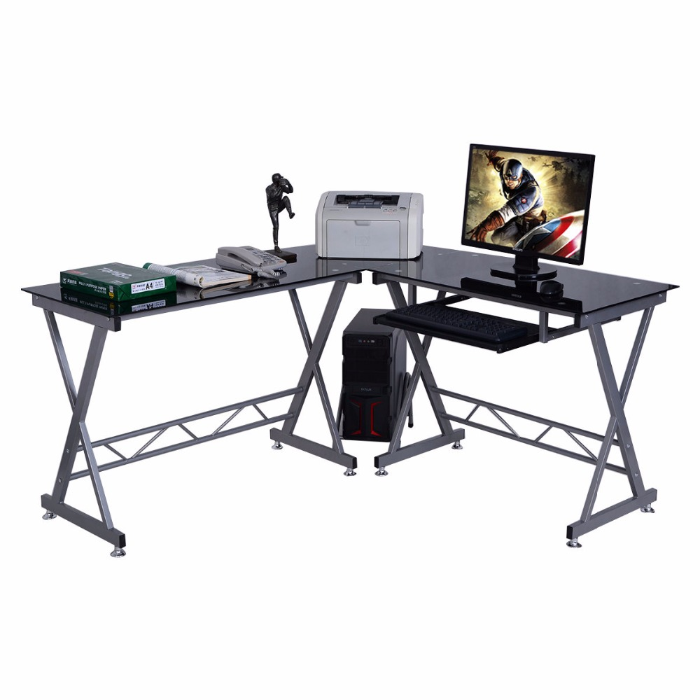 L-Shape Computer Desk PC Glass Top Laptop Table Workstation Corner Home Office  HW51360+ glass office table computer desk workstation with suspended cabinet and drawers office furniture hot sale