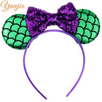 10pcs/lot Green Mermaid Ears With 4'' Glitter Sequin Bow On Colored Satin Covered Resin Hairband Girl Minnie Headbands