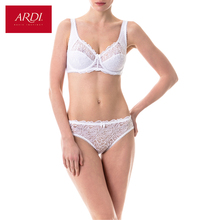 Woman's Bra and Briefs Set Underwear Lace White Soft Cup Large Size Big Breast 80 85 90 95 100 C D E ARDI Free Delivery N1002-15