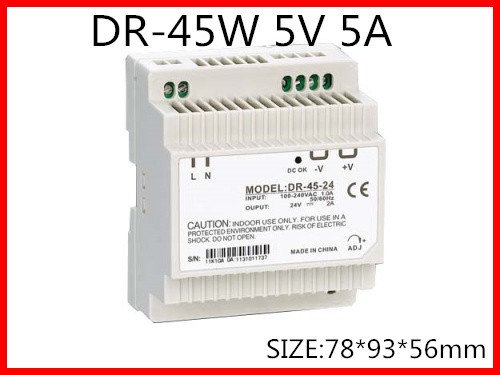 DR-45-5 Din Rail Switching power supply 45W 5VDC 5A Output  AC to DC ac dc dr 60 5v 60w 5vdc switching power supply din rail for led light free shipping