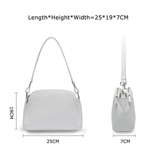 "Image 4 - ""100% עור אמיתי אופנה נשים כתף תיק לבן מעטפת שקיות שני רוכסנים סגירה אלגנטי Crossbody ארנק שחור"
