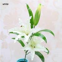 1 Uds 3 cabezas Real tacto Artificial lirio Flores Boda nupcial ramillete de Flores falsas plantas lirio blanco hogar Decoración para la exhibición