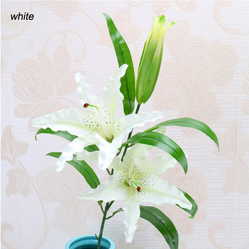 1pcs 3Heads Real Touch Artificial lily Flores Wedding Bridal fake flowers Bouquet Plants white Home Party Decor for Display