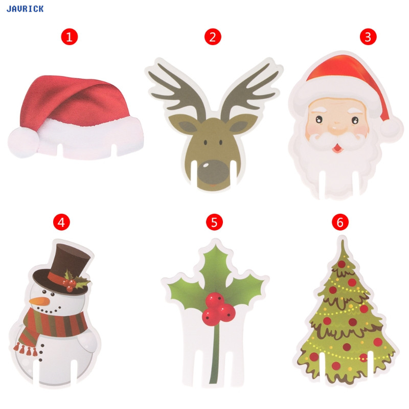 javrick 10pcs wine glass card christmas santa claus snowman tree deer party decoration christmas decorations for home