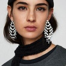 Dvacaman Trendy Shiny Rhinestones Drop Earrings For Women Wedding Luxury Crystal Gems Pendant Statement Earrings Jewelry