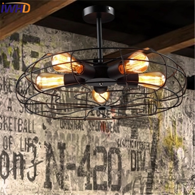 IWHD 5 Heads Industrial Vintage Pendant Lamp Loft Style Electric fan Hanglamp Black Iron Retro Light Fixtures Lamparas Lustre iwhd american style wood vintage pendant light fixtures iron retro loft industrial hanging lamp led living room hanglamp lustre