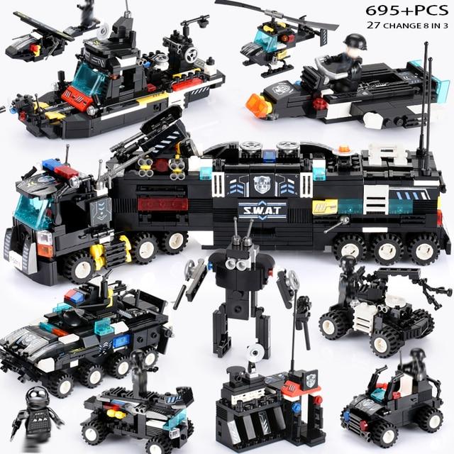695 Pcs Legoings SWAT City Truk Polisi Blok Bangunan Set Kapal Helikopter Kendaraan Creator Batu Bata Playmobiled Mainan untuk Anak