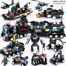 695PCS LegoINGs SWAT City Police Truck Building Blocks Sets Ship Helicopter Vehicle Creator Bricks Playmobiled Toys for Children(China)