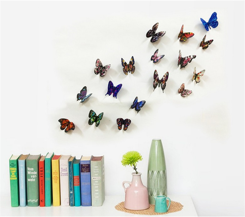 Hot selling creative 19Pcs/Lot 3D PVC colorful Butterfly sticker for bedroom wall decoration Home Decor diy Wall Sticker decals