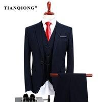 TIAN QIONG (kurtka + Spodnie + Kamizelka) 2017 High Quality Men Suits Moda Granatowy koszulka Męska Slim Fit Firm Mężczyźni Formalne Garnitury Ślubne