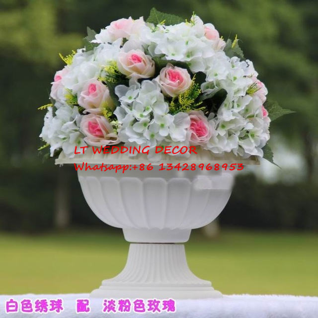 Us 258 0 10pcs Lot Pink Wedding Table Decoration Road Lead Artificial Wedding Table Flowers Centerpiece Flower Balls For Roman Pots In Artificial