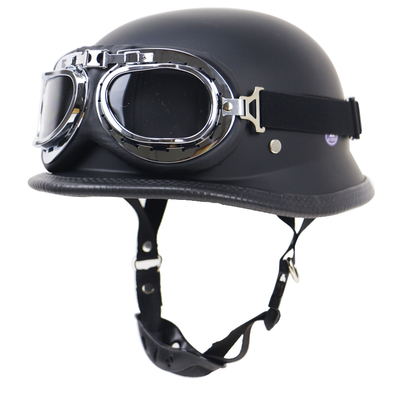 Lightweight Motorcycle Helmet >> Us 37 23 24 Off Lightweight Retro Motorbike Helmet Dot Approved German Style Motorcycle Helmet With Glasses Mat Black And Glossy Black Available In