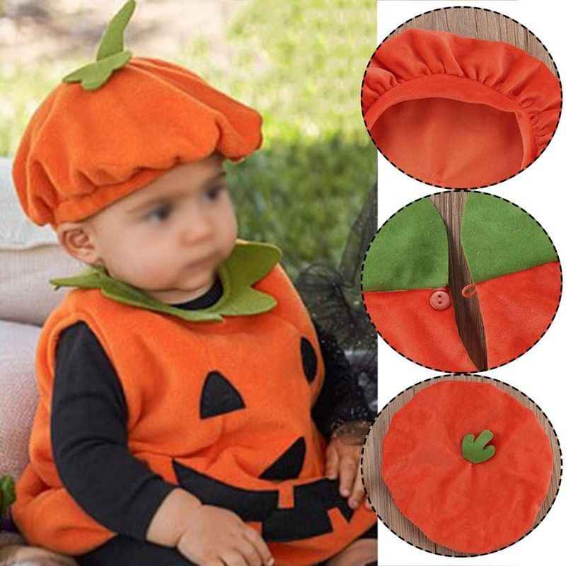 2018 Baby Halloween Cosplay Clothes Sets Babies Kid Pumpkin Suit Top Blouse+Hat Clothing Costumes Clothing Sets
