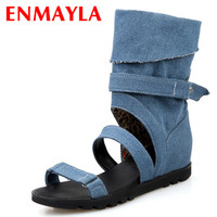 ENMAYER Summer Boots Gladiator Hollow Out Sandals Women Motorcycle Boots Denim Ladies Flats Knee High Boots