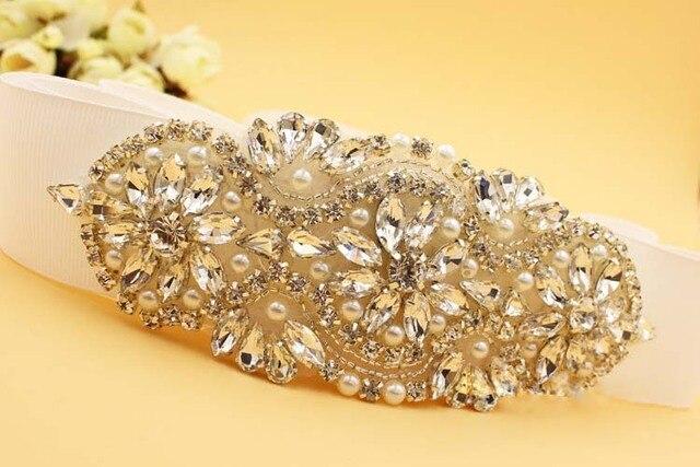 Honey Qiao Crystal Bridal Belts for Wedding Dresses 2017 Cinturones de novia con Luxury Sparkly Cristales Rhinestone Sashes