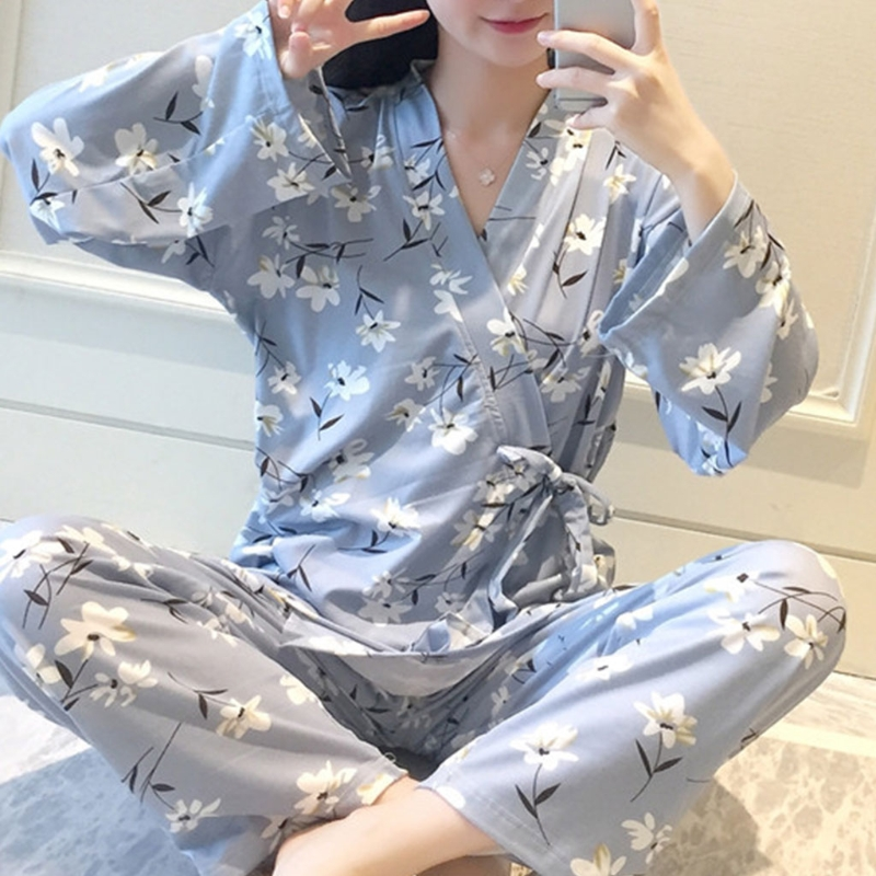 Womens Floral Kimono Robes   Pajamas     Set   Japanese Style Home Clothing Sleepwear N9_D