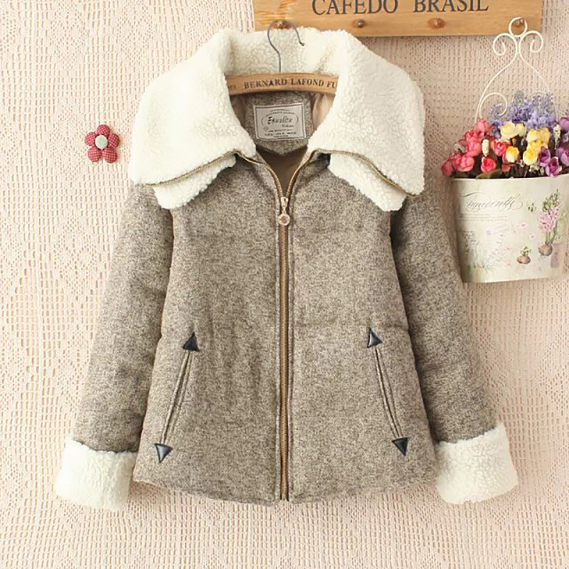 Women Winter Coats Korean Version Of The Double-Collar Cotton Jacket Cashmere Short 3 Color