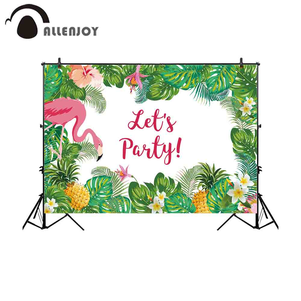 Allenjoy photography background flamingo tropical jungle holiday party pineapple backdrop photocall prop photo studio photobooth