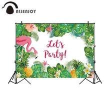 Fotografia Allenjoy tło flamingo tropikalna dżungla przyjęcie świąteczne ananas tło photocall prop photo studio fotobudka