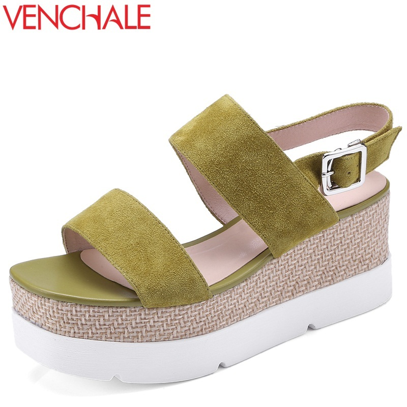 VENCHALE women shoes 2018 summer new sandals heel height 7 cm two colors wedges platform casual sandals kid suede shoes venchale 2018 summer new fashion sandals wedges platform women shoes height heel 10 cm buckle strap casual cow leather sandals