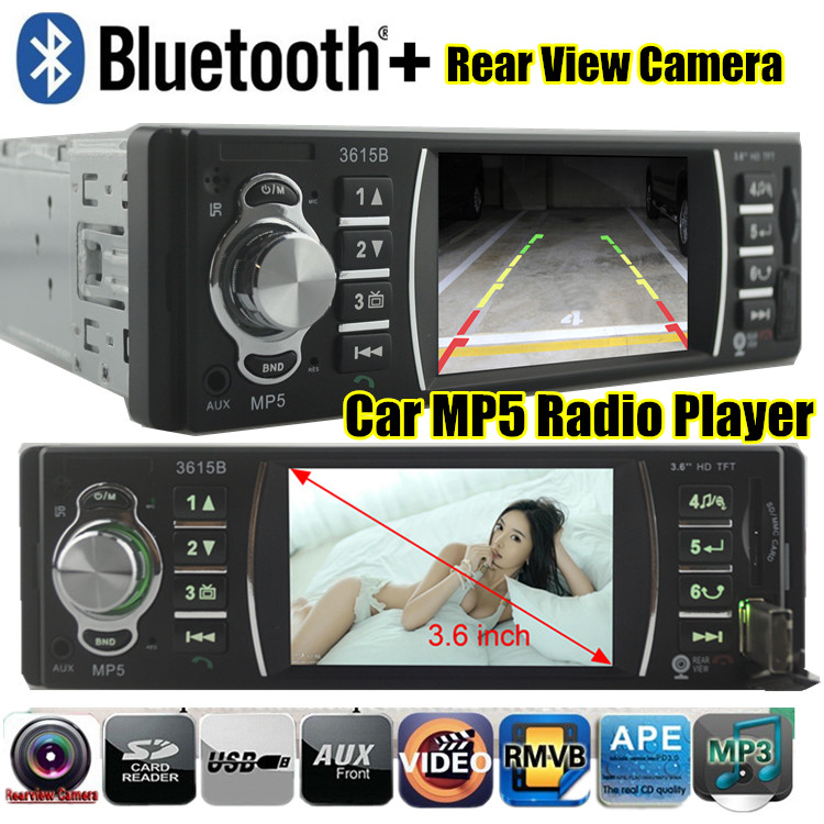 new 12V 3.6 inch HD screen Bluetooth Car radio MP5 player radio tuner Support Rear View Camera car MP5 car Audio 1 din in dash