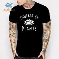 2017 New Fashion Vegan T Shirt Power By Plants Lotus Printed T Shirt Gym Clothing Summer