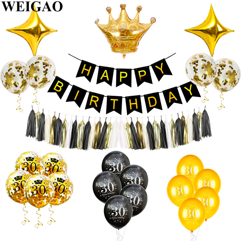 WEIGAO Happy 30th Birthday Balloons Gold/Black Confetti Balloon Thirty 30 Number Balloons Big 30 Birthday Party Decoration Adult