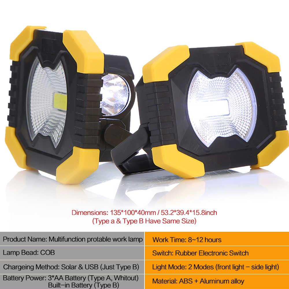 Luminoso Riflettore Portatile Luce del Lavoro USB Ricaricabile Torcia Elettrica di energia Solare Luce Built-in Batteria 2400mAh Per La Caccia di Campeggio