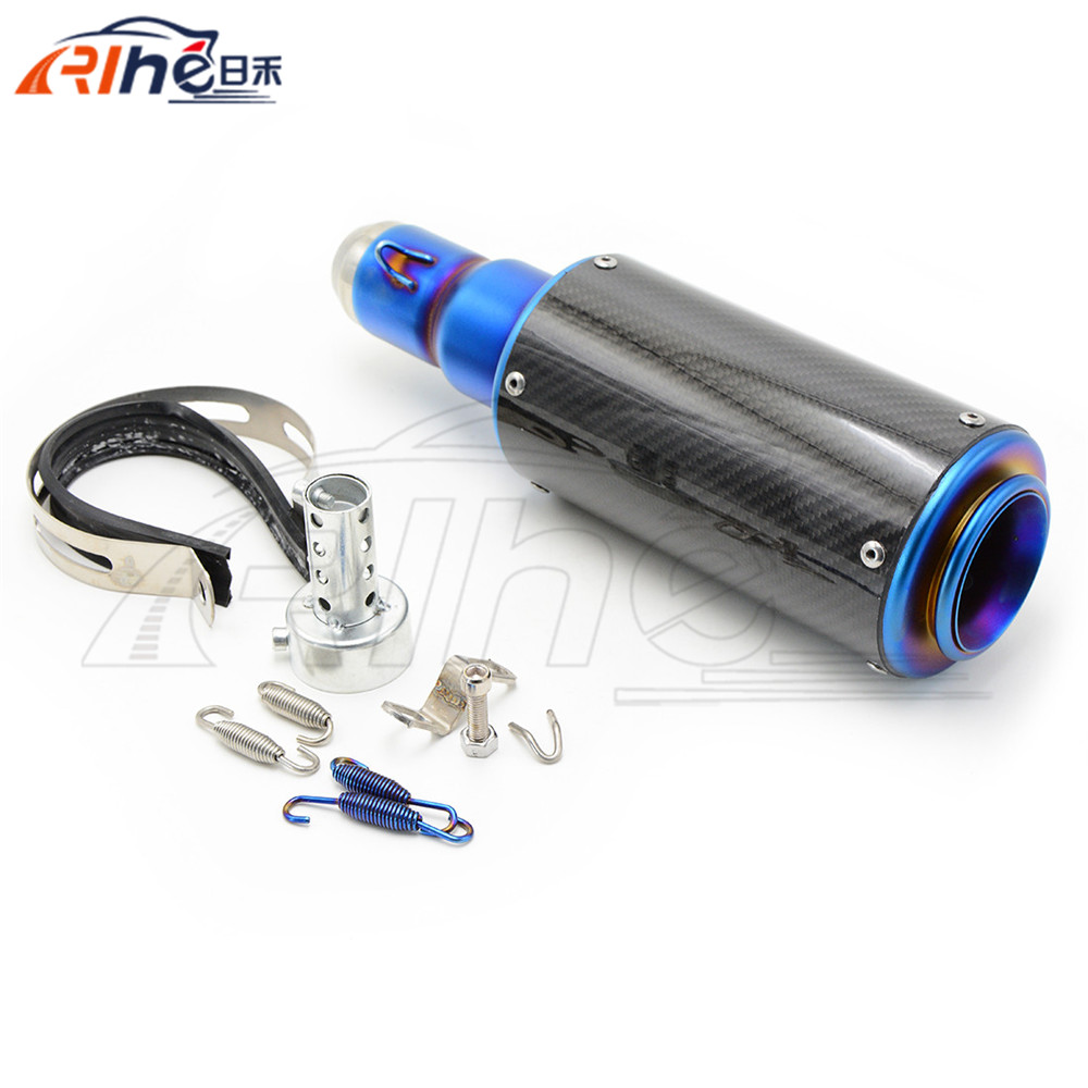colorful style motorcycle muffler 50mm motorbike carbon fiber exhaust pipe  For Yamaha YZF-R6 2006 2007 2008 2009 2010 2011 2012 hot sale motorcycle muffler carbon fiber 50mm exhaust pipe for kawasaki zx 6r 2005 2006 2007 2008 2009 2010 2011 2012