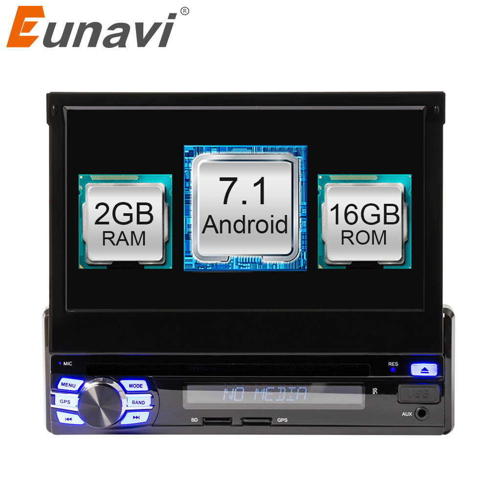 Eunavi 2G RAM Android 7.1 Universal Single 1 DIN 7 Car Radio Stereo Quad Core Head Unit Support Dual Zone Steering Wheel Came ...
