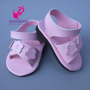 18 Inch American Girl Doll 7CM Doll Shoes for 43CM Zapf Reborn Baby Doll Sandals Summer Pink Shoes римские сандали