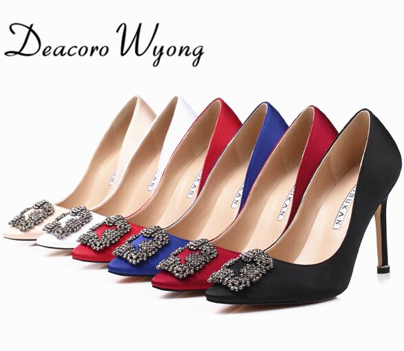 Free Shipping women's classic silk stain diamond buckle wedding heels, female fashion silk stian buckle party pumps, 33-43