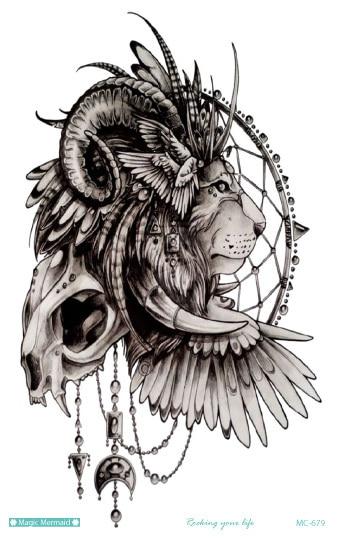 MC679 19X12cm Large Tattoo Sticker Indian Style Lion Skull Totem Designs Temporary Tattoo Terrorist Stickers Flash Taty Tatoo