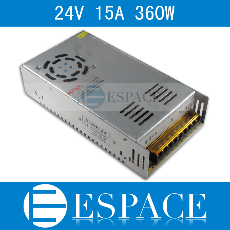 Best quality  24V 15A 360W Switching Power Supply Driver for LED Strip AC 100-240V Input to DC 24V free shipping hot 12v 50a 600w 100 264v electronic transformer high quality safy led current driver for led strip 3528 5050 power supply