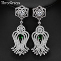 4 Color Options Super Long Dangle Cubic Zirconia Synthetic Diamond Setting Green Crystal Vintage Drop Earrings For Bridal ER321